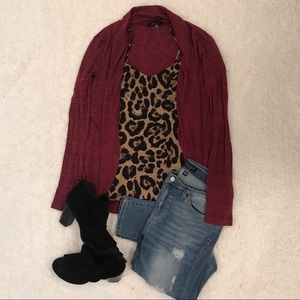 Burgundy Long Sleeve Knit Cardigan